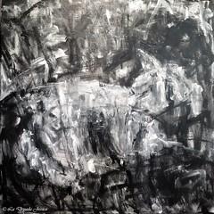 Aux Instants Félins (LaDryadaJessica) Tags: ladryadajessica artdryadique dryadicart art peinture painting artmoderne modernart noiretblanc blackandwhite canvas dark
