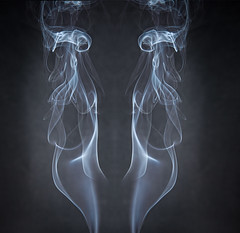 Smoke and mirrors (Marion McM) Tags: smoke mirrorimage burning abstract shapes patterns creative jossstick canoneos canon flash canoneos6dmarkii