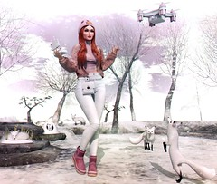 #340 Droning (NuriaNiven) Tags: bleich lelutka avada glamaffair magika blueberry ddl ison izzies kirin maitreya pinkfuel salt studioskye tentacio second life sl avatar lookbook blog blogger lotd winter fox snow drone kawaii cute pink