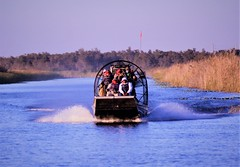 Airboat (PelicanPete) Tags: airboat sunset dusk floridaeverglades everglades florida southflorida inland unitedstates usa nature beauty natural loxahatchee national wildlife refuge parkrangers research outdoor gear flag autumn fall color palmbeachcountyflorida riverofgrass sawgrass tallgrass inthewild river path canoetrail sky serene airboats wave wake 12419
