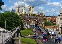 York in the summer of 2019 (WISEBUYS21) Tags: york yorkshire river ouse citycentre cityscape city leading lines railing railings cars bus car bridge minster blue sky cloud green grass steps stairs castle fortifications taxi post office van victorian houses people tourist tourism tourists crowd crowds lamp wisebuys21 horizon perspective shoppers church tower walls defense