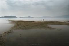 paesaggi lacustri #2 (pamo67) Tags: pamo67 lake landscapes secca shoal sabbia sand foschia mist people passeggiata walk acqua water calma calm tranquility tranquillità pasqualemozzillo nuvoloso cloudy grigio grey uomo man silhouette