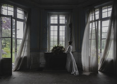 So the darkness shall be the light, and the stillness the dancing. (Fragile Decay) Tags: chateau cinderella window curtains wind selfportrait serene fragiledecay exploring forgotten forbidden lost