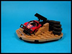Losing it in the corner (Karf Oohlu) Tags: lego moc microscale car racing racecar spinout spoiler airdam tyrewall racetrack vignette