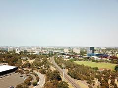 Upfield line and CityLink (Paul Threlfall) Tags: djimavicproplatinum melbourne victoria australia drone flight aerial traintracks