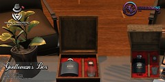 {ID} Gentleman's Box (Inner Demons) Tags: {id} innerdemons sl secondlife 3d original mesh manlyweekend event exclusive decor decorative homegarden mens gentleman cigar alcohol glass box discounted discount modern metal wood flask whiskey prop rp roleplay sale promo promotion unisex giftbox