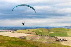 Landscape view from Milk Hill (Keith now in Wiltshire) Tags: landscape milkhill cliffordshill pewseydowns valeofpewsey farming field sky sport parascending canopy sail hillside wind uplift updraft
