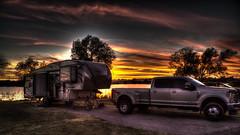 Elk City Park Campground (Brad Prudhon) Tags: 2019 doubled elkcity elkcitylakeparkcampground october oklahoma rocky water lake sunset truck rv camper campsite