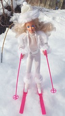 Winter Fun Barbie #5949 from 1990 (VintageZealot) Tags: barbie mattel winter fun 5949 1990 90s 1990s target exclusive vintage retro fashion doll clothing clothes outfit model modelling white caucasian blonde superstar super star malaysia velcro plastic snaps elastic ski skiing hot pink silver faux fur fluffy hat beige cream pole goggles glasses sun boots skis poles pants trousers fanny pack shirt top blouse turtleneck knit jacket coat jewelry earring earrings ring shiny sparkly satin leg warmers