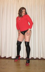 wetlook stockings and hotpants (Barb78ara) Tags: hotpants leatherlook leatherlookhotpants wetlookhotpants wetlookstockings redheels strappyredheels strappysandalettes highheels stilettoheels stilettohighheels stockings zipperhotpants redtop tightredtop