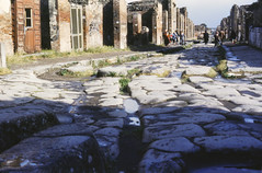Standing next to the Arco di Caligola (to the left and out of frame) and looking down the Via Della Fortuna, Pompeii, Italy, 1950s (gbfernie5) Tags: italy pompeii 1950s kodachrome vacation holiday juliavanderveerrees