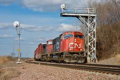 CN Power on the CB&Q (sd39u1556) Tags: cn armour cbq signal searchlight train railroad missouri winter sd75i railfan nikon