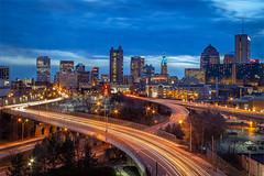 Columbus nightlife (Lyuda_) Tags: nightphotography twilight city columbus ohio canon cityline 15seconds slow motion light lines leadinglights