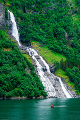 Waterfall, Geiranger Fjord (gwpics) Tags: norway geiranger landscape waterfall norwegian nature water mountains forest environment vertical geirangerfjord naturalbeauty fjord fiord upright