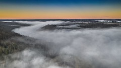 Along The Creek (somewheredowntheroadphoto) Tags: dji drone fog foggy light morning color colorful shadow shadows cold winter fly flying sky