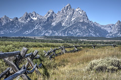 Pole Fence / Teton Peaks (Runemaker) Tags: pole fence teton mountains peaks grandteton nationalpark wyoming landscape hdr nikon d750