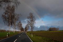 Natural phenomenon (Zoom58.9) Tags: sky clouds rainbow street trees fields nature landscape outside himmel wolken regenbogen strasse bäume felder natur landschaft draussen