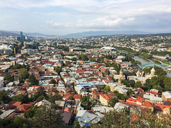 Aerial view of Tbilisi, Georgia (phuong.sg@gmail.com) Tags: aerial ancient architecture beautiful blue bridge building capital cathedral caucasus center church city cityscape destination downtown europe famous fortes georgia georgian hill historic history house kura landmark landscape mountain old outdoor panorama park peace river roof sameba sky skyline summer tbilisi tourism town travel urban view