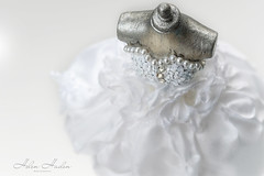 Puffball and roses (hehaden) Tags: dress puffball pearl silver mannequin miniature handmade macro lookingcloseonfriday white whitebackground