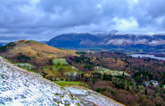 Above the snow line (Peter Leigh50) Tags: snow march cold sunshine landscape landschaft lake district lakes skiddaw mountains hill fells wood woods trees town keswick derwent water road field sky clouds people walking path fujifilm fuji finepix e900