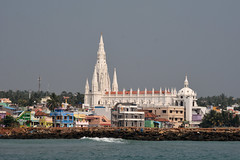 Our Lady of the Ransom Church from sea. (draskd) Tags: ourladyofransomchurch catholic christanity mothermary jesuschrist kanyakumari morning boat coast kanyakumaricoast southerntipofindia landscape seascape sea indianocean draskd seabeach tamilnadu water seafront pier sky capecomorin vivekanandarockmemorial travelphoto travelphotography catholicfaith
