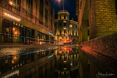 Streets of Gothenburg (Fredrik Lindedal) Tags: gothenburg göteborg puddle puddlegram fredriklindedal lindedal streetview street streetvision streetlight city cityscape cityview colors hotel buildings reflection reflections water
