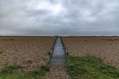 Boardwalk, Kent Coast (Bryan Appleyard) Tags: boardwalk shingle sea waves horizon clouds green vegetation