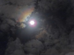 Full Moon With Corona In Moving Rain Clouds ☁️ (Chic Bee) Tags: astronomy astronomical canonpowershotsx70hs moon fullmoon lunarcorona lunaraureole lunar imagepostprocessing experimental colorful explained opticalphenomena sky nightsky rainclouds movingclouds