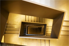 Golden Stairs (Sandra Lipproß) Tags: staircase spiralstaircase staircasefriday architecture treppenhaus treppenhausfreitag frankfurt geometry lines abstract