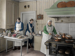 Working in the Munkedal manor kitchen (1932) (frankmh) Tags: kitchen cooking people manor munkedalmanor sweden colorization