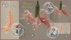 Fairies and Flowers - Happy Birthday (sileneandrade10) Tags: sileneandrade festive card artedigital digitalart photoshop ps imageediting effects texture collage doubleexposure festivecard postcard awardtree happybirthday