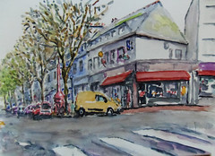 Avenue de la Perriere à Lorient (christian angué) Tags: rue voiture ville maison immeuble port aquarelle dessin peinture croquis morbihan bretagne bar