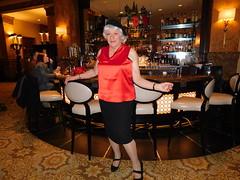 Center Of Attention? Me? (Laurette Victoria) Tags: skirt satin beret silver woman laurette bar hotel milwaukee pfisterhotel