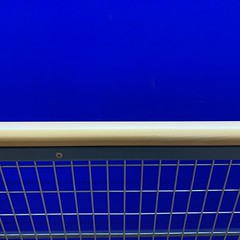 Blue Fence (YIP2) Tags: abstract minimal lines simple detail minimalism surface line wall graphical pattern graphic facade accidental urban details blue red less linea geometry design square stripes carre construction fence repetition urbandetail