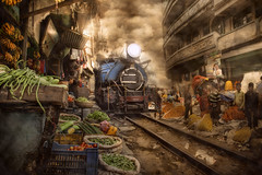 India (brian_stoddart) Tags: transport trains steam smoky railways buildings people shop vegetables flowers atmospheric shoes hectic composite