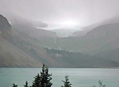 Bow lake, on a wet day (D70) Tags: lake wet day alberta canada waterfall glacier mountains recognisedviews rockies banffnationalpark stitched panorama bowglacier