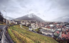 Historical Chur on a rainy day (PeterThoeny) Tags: chur switzerland grison graubünden alps swissalps city capital old town downtown vineyard road historic historical outdoor cloud cloudy sony sonya7 a7 a7ii a7mii alpha7mii ilce7m2 fullframe rokinon12mmf28 fisheye fisheyelens wideangle 3xp raw photomatix hdr qualityhdr qualityhdrphotography bündnerkantonsschule scolachantunalagrischuna scuolacantonalegrigione gymnasium cantonalschoolofgraubünden fav50