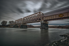 Morning Rush (PNW-Photography) Tags: longexposure sky skyscape bridge richland washington kennewick pasco tricities river yakimariver reflection morning structure architecture waterscape sony sonya6000 a6000