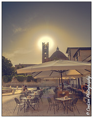 Sun setting over the campanile (CeeLive Photography) Tags: august italy lucca tuscany summer sun campanile flickr canon cafe