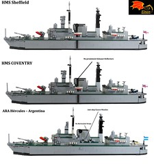 01 Differences between the Type 42 Destroyers (Eínon) Tags: type 42 destroyer santisima trindad hercules task force operation corporate batch 1 lego exocet royal navy england united kingdom argentina cold war falklands