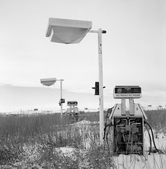 Rolleicord V / Kodak Tri-X 400 / Yellow Filter (Fistfulofpowder) Tags: rolleicord v kodak trix 400 yellow filter back roads alberta abandoned winter snow unleaded gas pump pumps cold 6x6 medium format film bw black white analog square tlr twin lens reflex classic camera
