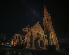 Starchurch (Мaistora) Tags: church protestant reformist calvinist budapest hungary night fisheye perspective sky skyline stars astrophotography fake kitsch replacement ai luminar luminar4 skylum
