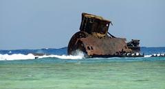 Wreck (Khaled M. K. HEGAZY) Tags: nikon coolpix p520 sharmelsheikh nabqprotectedarea egypt nature outdoor closeup sea gulfofaqaba wave ship wreck green blue brown white black