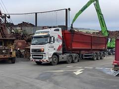 "GK13PXZ Volvo FH loading OA for Liverpool docks (Mark Schofield @ JB Schofield) Tags: transport road commercial vehicle lorry truck wagon tipper tanker artic eight wheeler haulage contractor bulk haulier tractor unit freight hgv lgv scrap scrapyard yard metal processor merchant cast iron schofield linthwaite huddersfield ""jb schofield"" ""metal merchants"" recyclers recycling recyclers"" steel copper ""schofield huddersfield"" hooklift hookloader scraphandler sennebogen 825e 830e"