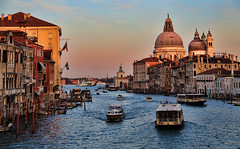 Sunset in Venice (Jan Kranendonk) Tags: santamariadellasalute grand canal grande venice italy itailan european water river houses buildings europe mansions palazzo historical culture church religion boats santamariadellasalutesalute boating bollards dome landmark gondola sunset warm light