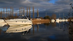 Lazy day (myraemery) Tags: boats wareham dorset uk river frome clouds sky sun reflections trees reeds canoneos70d 1755mm