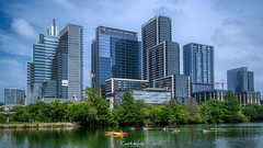 Googling in Austin, Texas (myoldpostcards) Tags: austin texas tx skyline cityscape downtown riverfront google coloradoriver kayak paddling paddleboarder outside water spring 20009