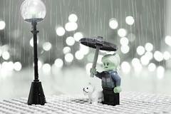 Rainy Winter So Far... (TheMagikMaster) Tags: lego legominifigures legophotography toyphotography rainy winter rainywinter umbrella bulldog streetlamp stayingdry 11020