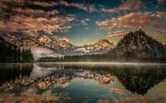 Spring morning (gregor158) Tags: clouds snow sunrise spring lake almsee austria österreich europe travel places mountains mountain trees tree reflection landscape fog mist