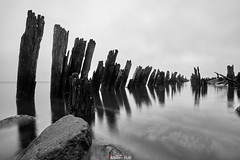 The remains of a wooden pier (zaxarou77) Tags: the remains wooden pier monochrome water mirror bw landscape blackwhite sea russia sony sonyclub a7 a7m2 a7mii carlzeiss carl zeiss 1635 1635f4 za sel fe ilce7m2 variotessar t mm f4 oss sel1635z